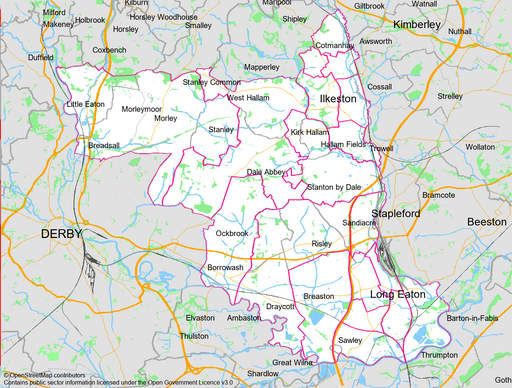 Erewash Borough (© OpenStreetMap contributors - Contains public sector information licensed under the Open Government Licence v3.0)